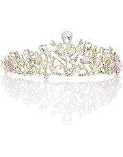 Handcess Gouden Bruiloft Kroon Bruids Kroon Tiara Crystal Rhinestones Haaraccessoires voor Bruids en Bruidsmeisje