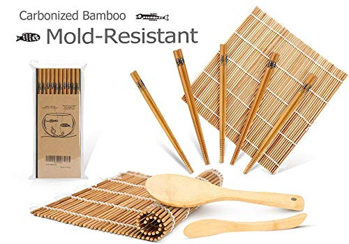 Bamboo Sushi Kit, Carbonized Rolling Mats for Mold-Resistant