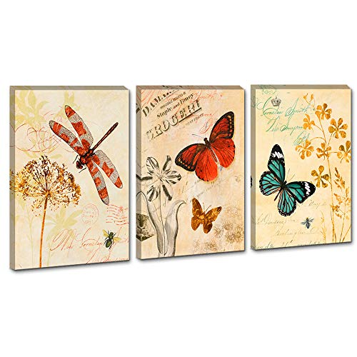 DekHome 3 Panels Framed Prints Decor Vintage Butterfly Dragonfly and Flowers Picture Print on Canvas Beautiful Insect Artwork Ready to Hang for Living Room Bedroom Wall Decoration 16x24x3pcs