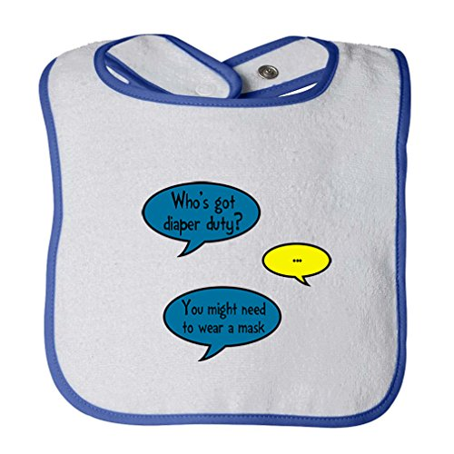 Got Diaper Duty? Might Need Wear Mask Infant Contrast Trim Terry Bib White/Royal Blue by Cute Rascals