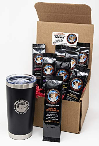 Sillybean Best Dog Lover Coffee Lover Funny Gift Sampler Set with 20 oz Stainless Steel Double Wall Insulated Tumbler and Ground Coffee [並行輸入品] B07N4M7C4K