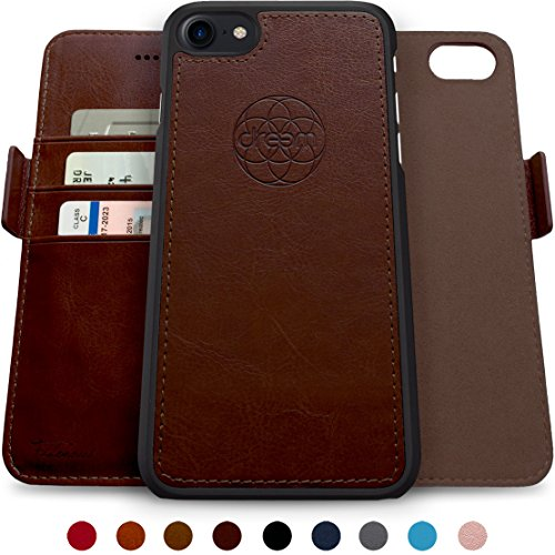 Dreem Fibonacci 2-in-1 Wallet-Case for iPhone 8 & 7, Magnetic Detachable Unbreakable TPU Slim-Case, Wireless Charge, RFID Protection, 2-Way Stand, Luxury Vegan Leather, Gift-Box - Coffee