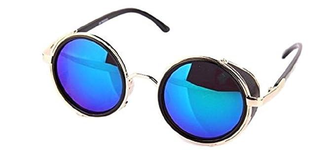Nouveau Shades Lunettes de Soleil Unisexe Steampunk Cyber Goggles Style Vintage Rondes (Brun - Leopard) YqLh5K