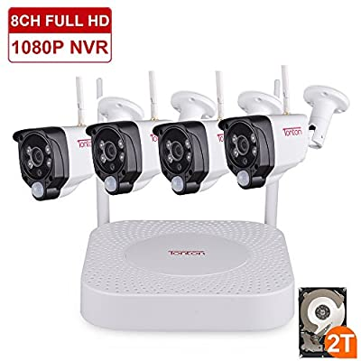 Tonton 1080P Full HD Wireless Security Camera System, 8CH NVR Recorder with 2TB HDD and 4PCS 1080P 2.0 MP Waterproof Outdoor Indoor Bullet Cameras with PIR Sensor, Audio Record and Clear Night Vision