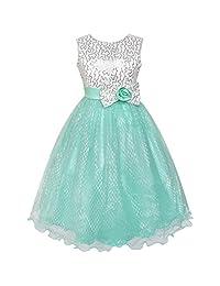 Sunny Fashion Girls Dress Glitter Sequin Wedding Bridesmaid Pageant Size 4-14