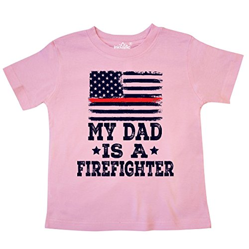 (inktastic - Dad is a Firefighter Toddler T-Shirt 3T Pink 306ad)