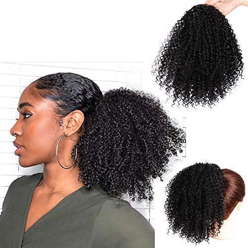 AISI BEAUTY Afro Kinky Curly Ponytails Clip In Hair Extensions for African Americans Kinky Coily Natural Clipin Ponytail HairPieces Curly Drawstring Puff Ponytail (8inch)