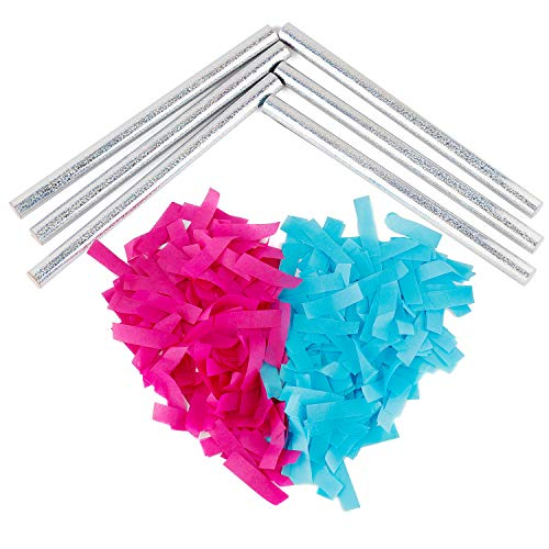 Battife Gender Reveal Confetti Sticks 3Pink+3Blue Biodegradable Tissue Paper Confetti Flick Flutter Wands for Baby Shower Boy or Girl Party Decorations Supplies,14 -