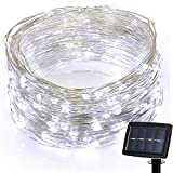 Glumes Solar String Lights, 200 LED 72 ft 8 Modes, Hanging Indoor Outdoor Decoration for Christmas Party Wedding Holiday Birthday Garden Patio Bedroom -American Warehouse Shipment (White)