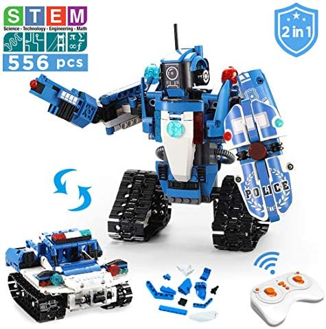 VERTOY Robot Building Kit for Kids STEM Remote Control Policeman and Police Car Toys for Boys 6-12 Years Old 2 in 1 Educational Engineering Gift 556PCS
