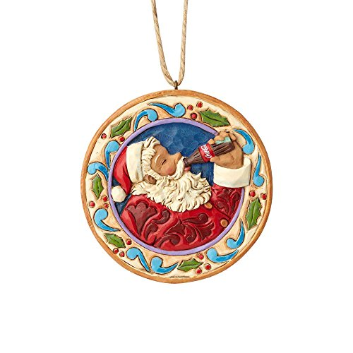 Department56 Enesco 0.45 Inches Height x Width x 3.1 Inches Length Santa Disk Decorative Hanging Ornament x x, Multicolor ()