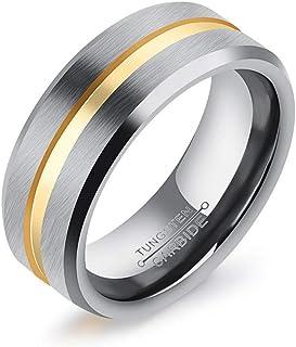 C-YG Gioielli Anello da Uomo Anniversario Matrimonio Tungsteno Anelli in Argento Spazzolato Match Oro Larghezza 8mm (Misura dell'anello Opzionale)
