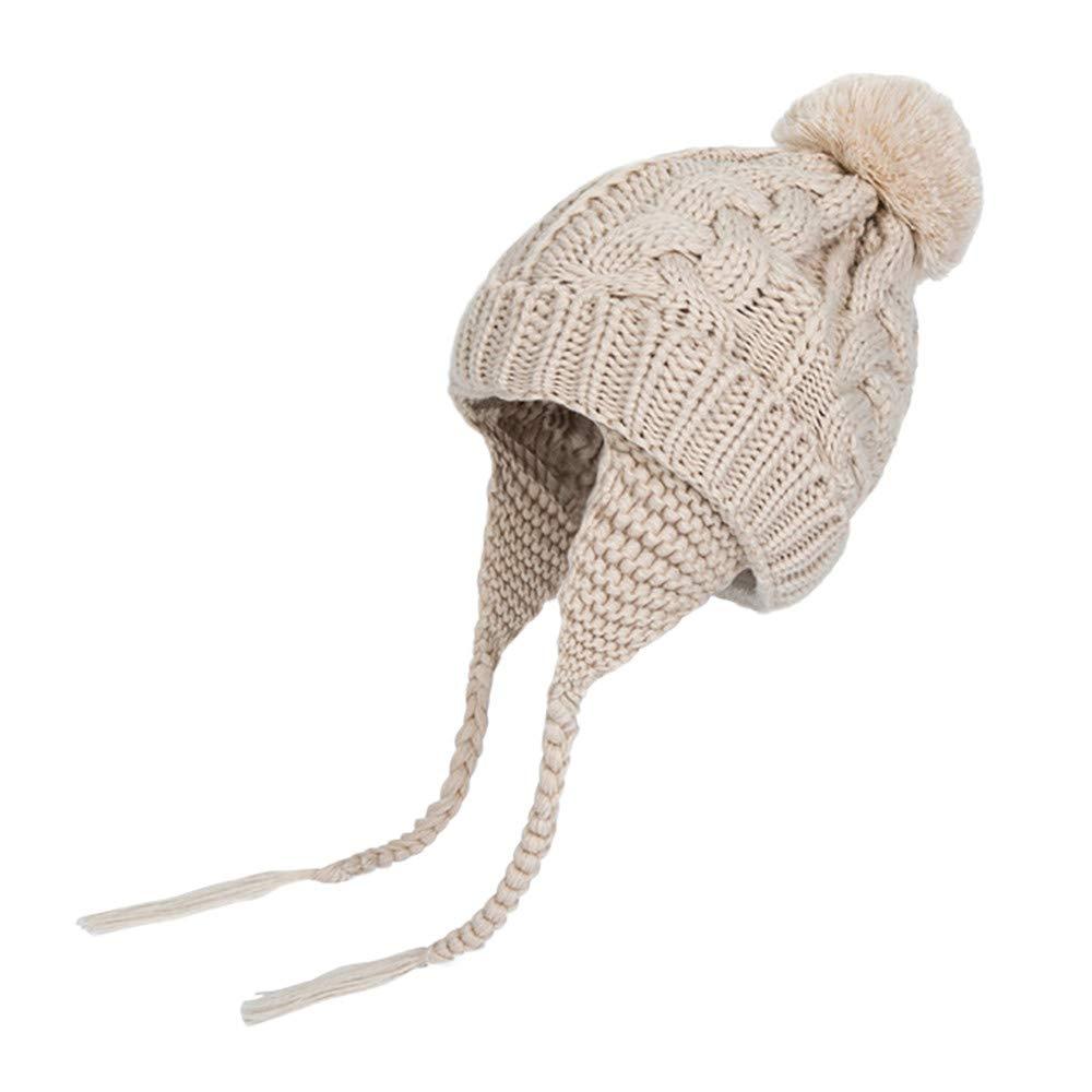 Diadia Baby Pom Pom Hat Diamond Pattern Winter Toddler Hats Knitted Hemming Skullies Beanies Ear Guard Baby Hat Kids Boy Hats Knitted Hemming Cap (Beige)