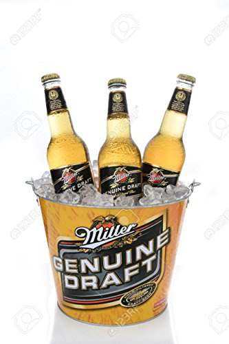 - Fathers Day Miller Genuine Draft Bucket with 4 Glasses Gift Set 5qt