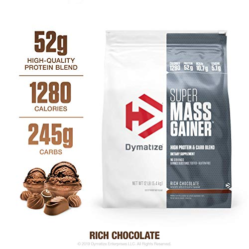 Dymatize Super Mass Gainer Protein Powder, 1280 Calories & 52g Protein, Gain Strength & Size Quickly, 10.7g BCAAs, Mixes Easily, Tastes Delicious, Rich Chocolate, 12 lbs
