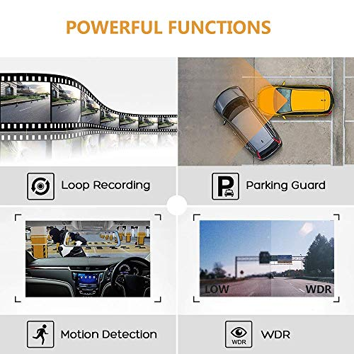 10 Inch Mirror Dash Cam Full Touch Screen, Poaeaon Backup Camera Stream Media, 1080P 170° Front and 1080P 150° Wide Angle Full HD Rear View Camera with G-Sensor, Night Vision (Free 32GB SD Card) by Poaeaon (Image #6)