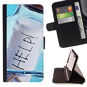 - Help Message In A Bottle/ Personalizada del estilo del dise???¡¯???¡Ào de la PU Caso de encargo del cuero del tir???¡¯????n del s - Cao - For Sony Xperi