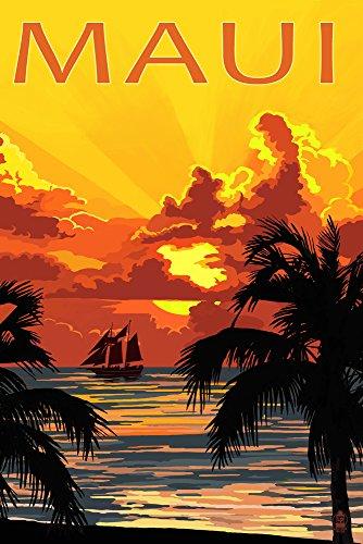 Sunset and Ship - Maui, Hawaii (12x18 Art Print, Wall Decor Travel Poster) (Office Supplies Maui)