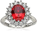 Platinum Plated Sterling Silver Created Ruby with Swarovski Accent Ring, Size 8