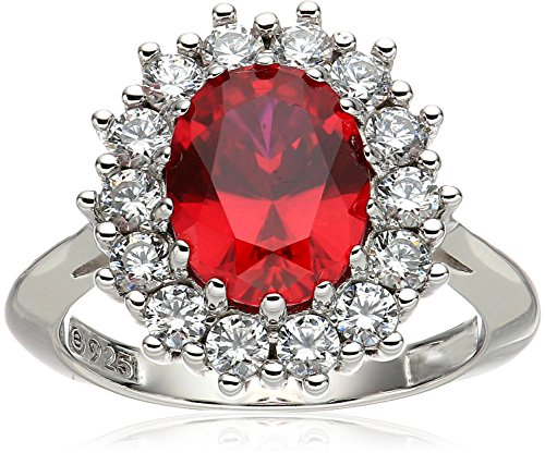Platinum-Plated Sterling Silver Created Ruby with Swarovski Accent Ring, Size 7 ()