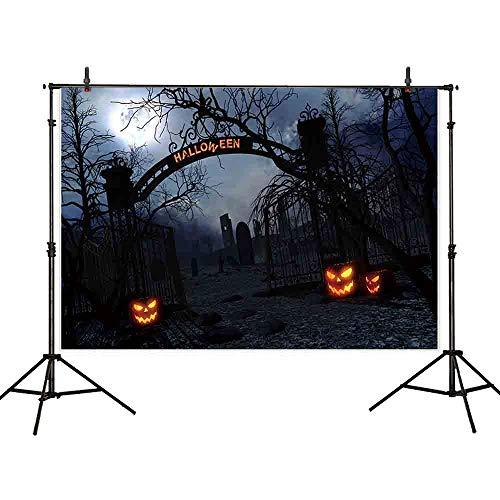 Allenjoy 7x5ft Halloween Photography Backdrop Pumpkin Lantern Graveyard Tomb Backdrops ()