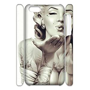 DIY Phone Case with Hard Shell Protection for Iphone 5C 3D case with Skull Marilyn Monroe lxa#911672