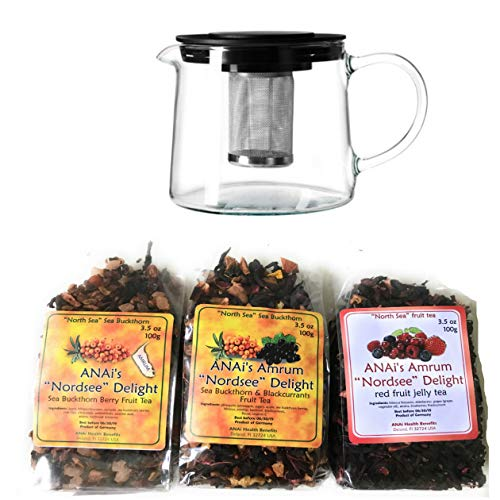 Red Berry Fruit-Teas bundle with IKEA Glass Tea Pot with Infuser. Herbal Teas with Sea Buckthorn Berries, Black Currants and many Anti-Oxidant Super-Foods! Cultivated+Imported from Germany (Set of 4)