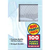 Amscan Plastic Forks, Clear, 100 Per Package
