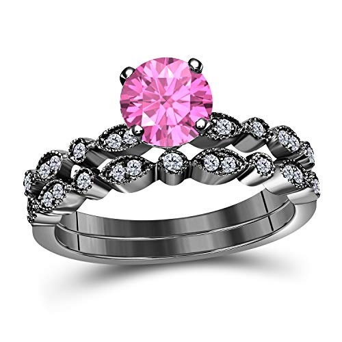 (Art Deco Style 1.00 Ct Lab Created Pink Sapphire Round Shape Engagement Ring Set 14K Black Gold Over Sterling Silver Bridal Ring Set for Women's Jewelry)