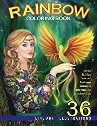 Rainbow. Line Art Coloring Book: Coloring Book for Adults