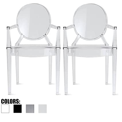 2xhome Set Of 2 Clear Modern Contemporary Ghost Chairs Chair Arms Molded  Acrylic Plastic Mirrored Furniture