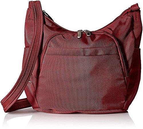 Travelon Anti-Theft Cross-Body Bucket Bag, Cranberry, O