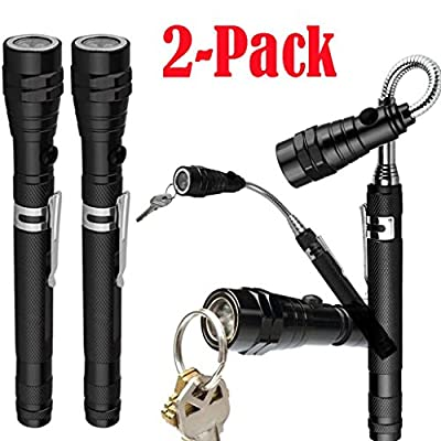 OVERMAL 2-Pack: Extendable Telescoping Magnetic Pickup Tool w/Flex-Head LED Flashlight Strong Flashlight