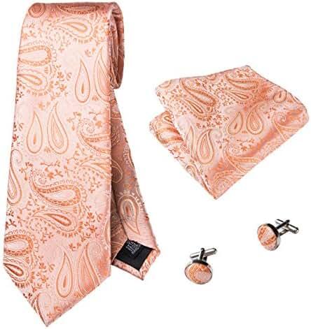 CAOFENVOO Men's Woven silk Paisley Necktie Tie Hankerchief Cufflinks Set