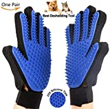 #7: Pet Grooming Gloves, Gentle Shedding Brush Efficient Pet Hair Remover Mitt Enhanced Five Finger Design Combing and Massage gloves For Dogs, Horses, Cats, and Other Pets With Long & Short Fur (Blue)