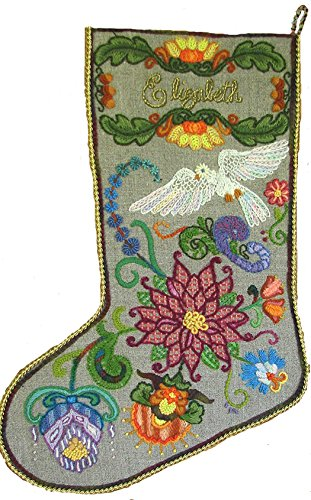 Crewel Embroidery Christmas Stockings - 'Jacobean Dove' Crewel Christmas Stocking