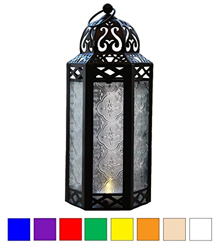 Clear Glass Moroccan Style Candle Lantern - Great for Patio, Indoors/Outdoors, Events, Parties and (Freestanding Clear Glass)