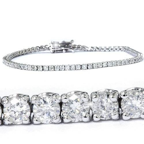 3ct Round GENUINE Diamond Tennis Bracelet 14K White Gold Womens 7