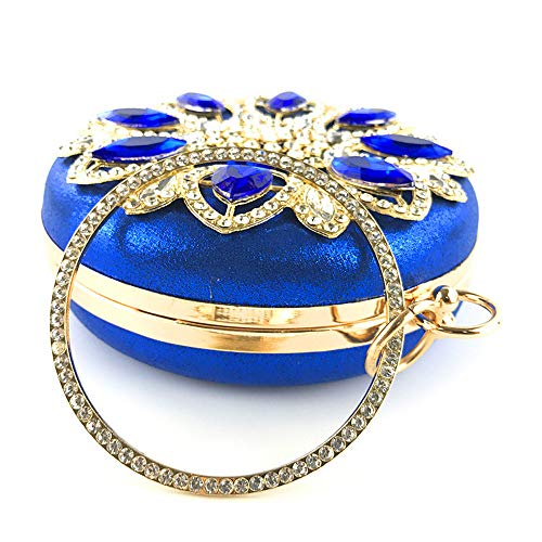 Dress Diamond Bag Luxury Party FFLLAS Crystal Clutch Round High Blue Women's Bag End Evening Sparkling Shape Bag IXXq6Fxg