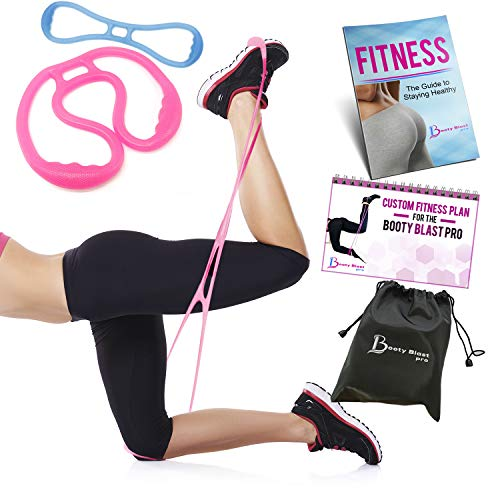 Booty Blast Pro Booty Bands Resistance Belt Workout Band Bootybands To Sculpt Your Butt | Bonus Booty Blast Pro Workout Guide and Fitness E-Book (Blue)