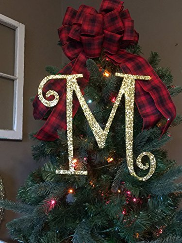 12 Decorative Gold Glitter Monogram Christmas Tree Topper Letter Wreath Initial Wedding
