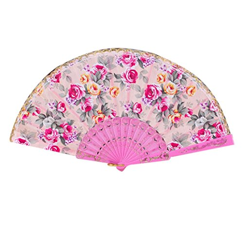 Vibola New Arrive Elegant Flower Print Folding Hand Fans Designer White Plastic fabric Fans Summer Women Girl Dancing Fan (Pink) Flowers Designer Fabric