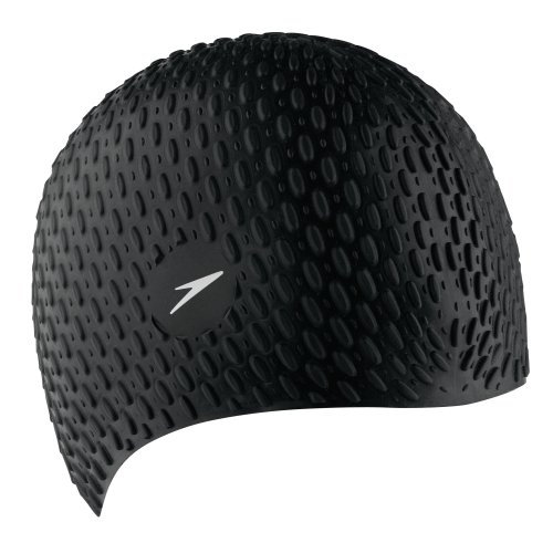 Speedo Stretch Cap (Speedo Silicone 'Bubble' Swim Cap, Black, One Size)