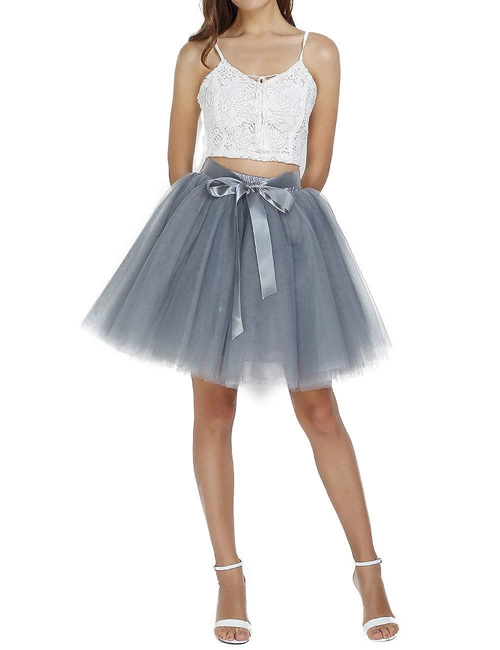 e19b244696 Women's Above Knee High Waist Tutu Tulle Skirt Adult 7 Layers Dance  Petticoat