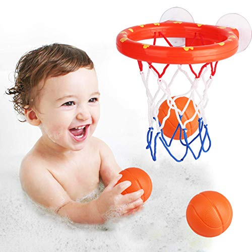 zoordo Bath Toys Bathtub Basketball Hoop Balls Set for Toddlers Kids with Strong Suction Cup Easy to Install,Fun Games Gifts in Bathroom,3 Balls Included]()