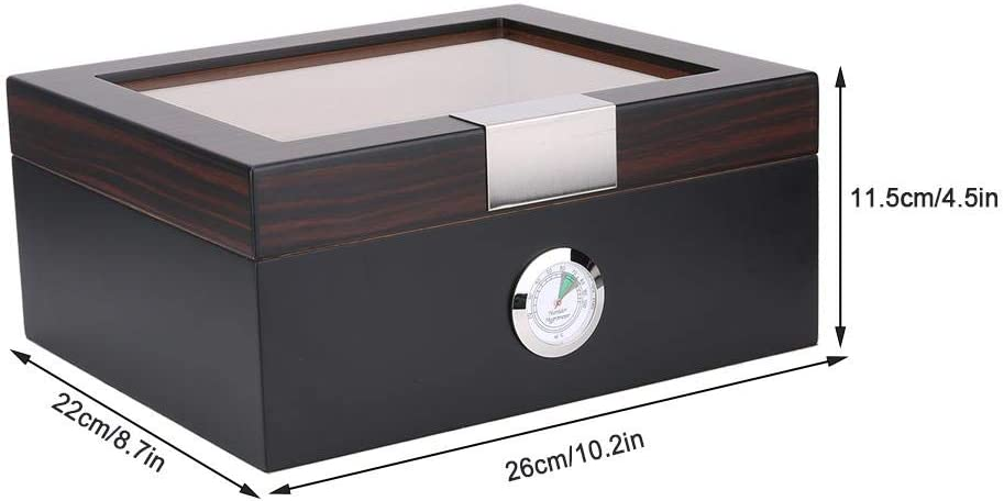 Wood Portable Travel Outdoor Humidor Case Cigar Storage Box with Hygrometer /& Humidifier
