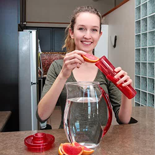 Water Pitcher with Lid : BPA-Free Fruit Infusion Pitcher / Water Jug by Ergo Kitchen Accessories - 84 Oz.