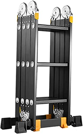 Escalera extensible/ Escalera telescópica Escalera de Aluminio Multiusos | Función de andamio Plegable | Patas Antideslizantes y Barra estabilizadora, Soporte 150 kg (Tamaño : 4 Step): Amazon.es: Hogar