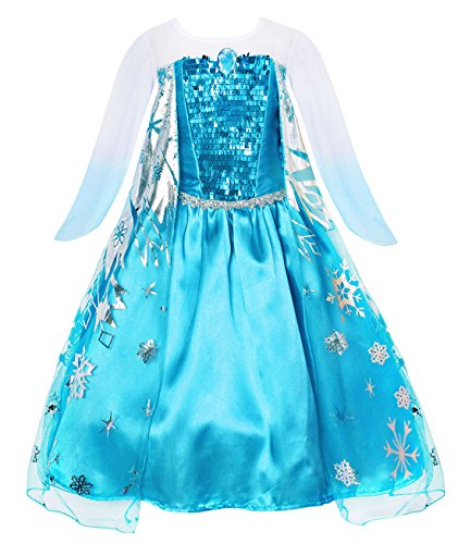 Cotrio Girls' Elsa Dress Up Costume Halloween Cosplay Them Party Princess Dresses Outfits (130, 7-8Years) -