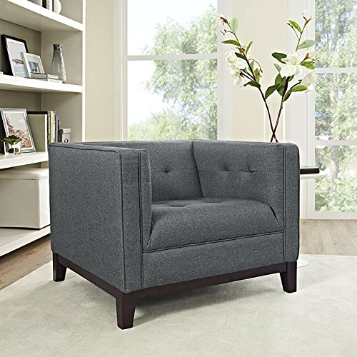 Modway Serve Modern Tuxedo Accent Arm Lounge Chair with Upholstered Fabric Tufted Fabric in Gray